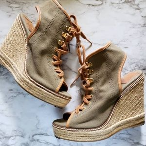 Tory Burch Espadrilles Wedges Olive Green Size 8